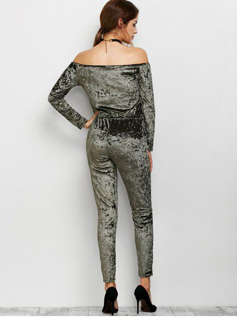 buy Ripped Off Shoulder Velvet Jumpsuit -   Mobile
