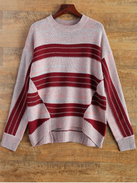 fashion Crew Neck Striped High Low Sweater - MULTICOLOR ONE SIZE Mobile