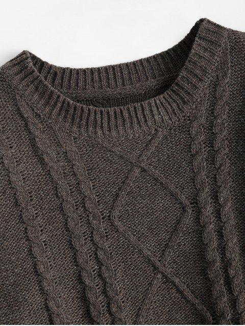 chic Relaxed Open Cable Knit Sweater - TAUPE ONE SIZE Mobile
