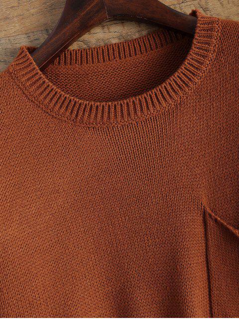 sale Distressed Patch Pocket Sweater - DARK AUBURN ONE SIZE Mobile