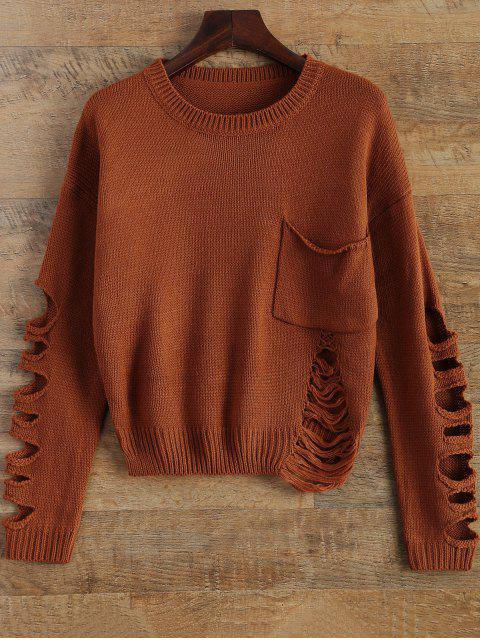 sale Distressed Patch Pocket Sweater - DARK AUBURN ONE SIZE Mobile