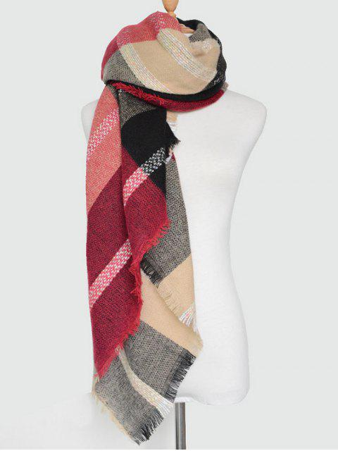 women Plaid Pattern Fringed Knit Blanket Scarf -   Mobile