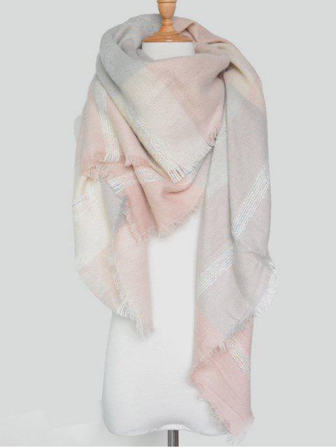 women's Plaid Pattern Fringed Knit Blanket Scarf -   Mobile