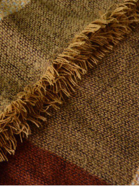 ladies Plaid Pattern Fringed Knit Blanket Scarf -   Mobile
