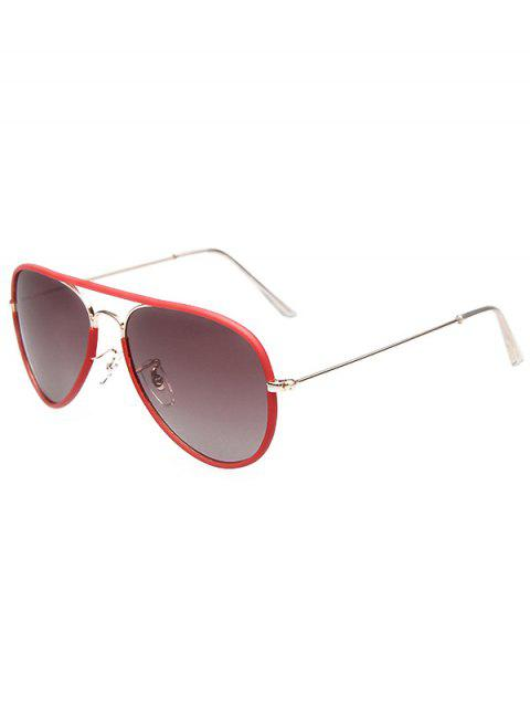 shop Full Rims Metal Pilot Sunglasses - RED  Mobile