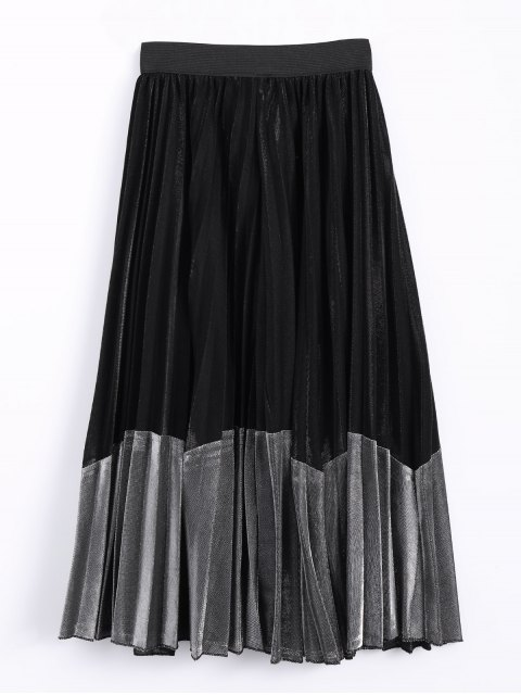 best Color Block Velvet Pleated Skirt - SILVER ONE SIZE Mobile