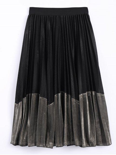 online Color Block Velvet Pleated Skirt - BLACK AND GOLDEN ONE SIZE Mobile