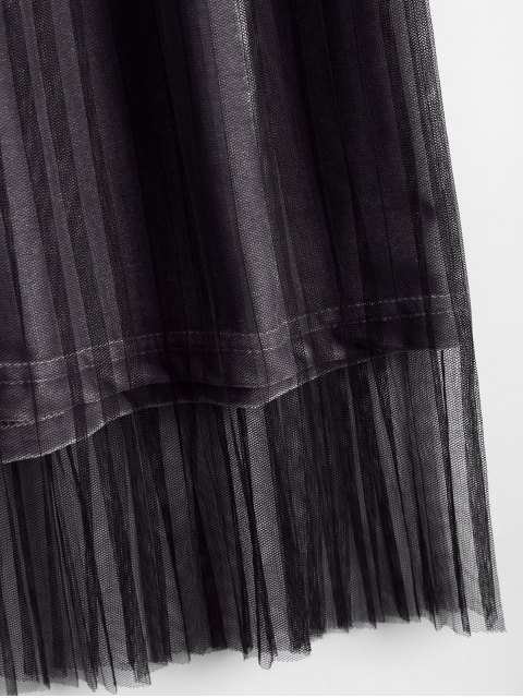 outfit Velvet Voile Panel Pleated Skirt - GRAY ONE SIZE Mobile
