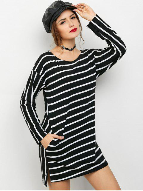 fashion Side Slit Long Sleeve Striped Mini Dress - STRIPE L Mobile