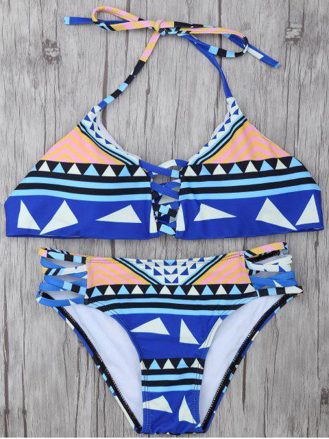 shop Geometric Pattern Strappy Bikini - BLUE S Mobile