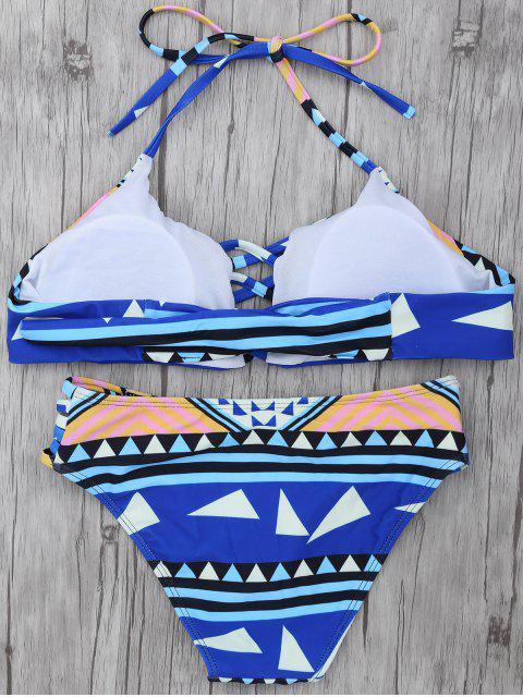outfits Geometric Pattern Strappy Bikini - BLUE M Mobile