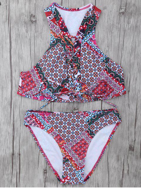 trendy Patterned Lace Up Bikini Set - COLORMIX S Mobile