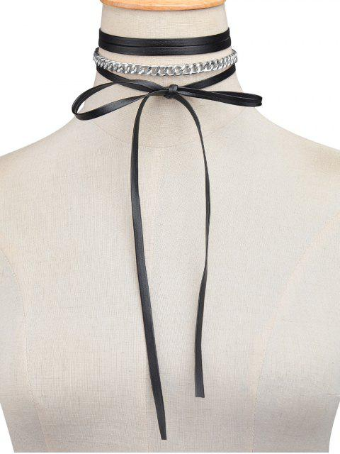 online Faux Leather Wrap Choker - SILVER  Mobile