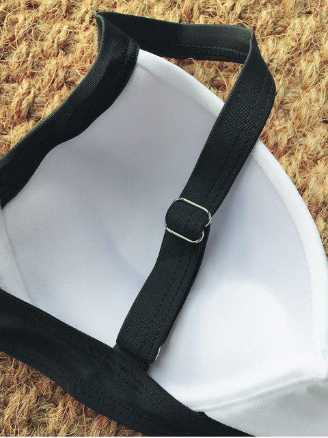 unique Two Tone High Waisted Bikini Set - WHITE AND BLACK S Mobile