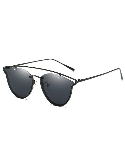 trendy Crossbar Metal Butterfly Sunglasses - BLACK  Mobile
