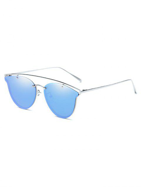 unique Crossbar Metal Mirrored Butterfly Sunglasses - ICE BLUE  Mobile