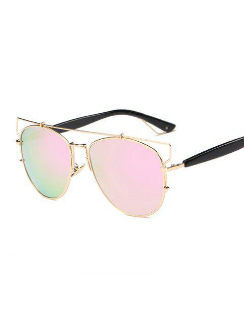 women Crossbar Metal Mirrored Sunglasses - PINK  Mobile