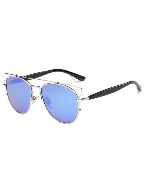 women's Crossbar Metal Mirrored Sunglasses - ICE BLUE  Mobile