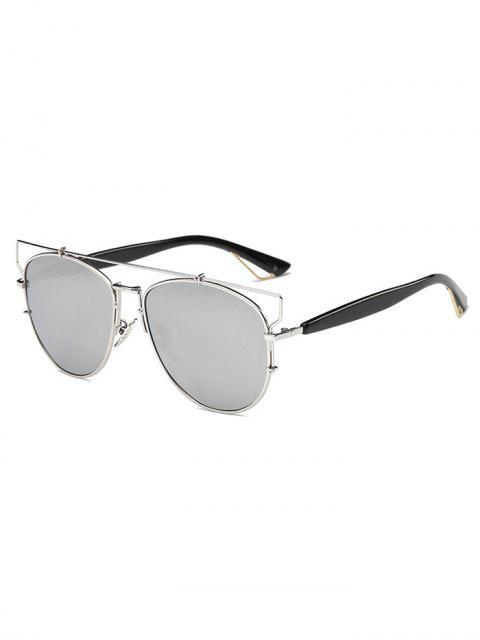 ladies Crossbar Metal Mirrored Sunglasses -   Mobile
