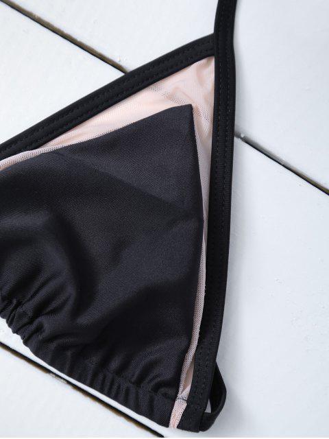 women's Mesh Panel Halter Swimsuit - BLACK M Mobile