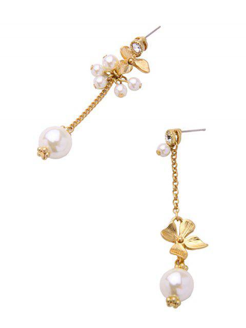chic Rhinestone Faux Pearl Flower Asymmetric Earrings -   Mobile