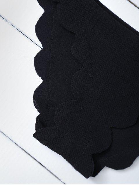 best Scalloped Halter Bikini Set - BLACK M Mobile
