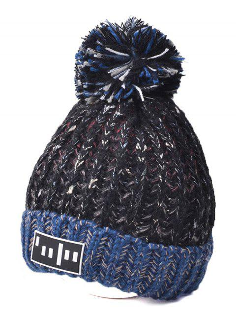 hot Color Block Cable Knit Pom Hat with Labelling - BLACK  Mobile