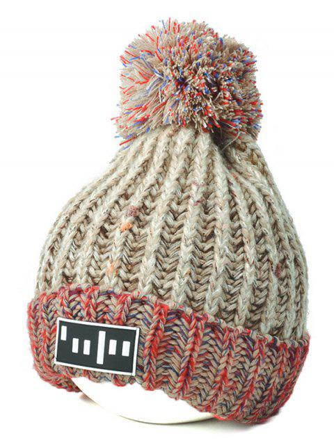 shop Color Block Cable Knit Pom Hat with Labelling -   Mobile