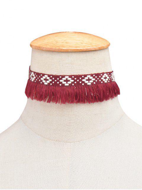 trendy Fringed Woven Choker - WINE RED  Mobile
