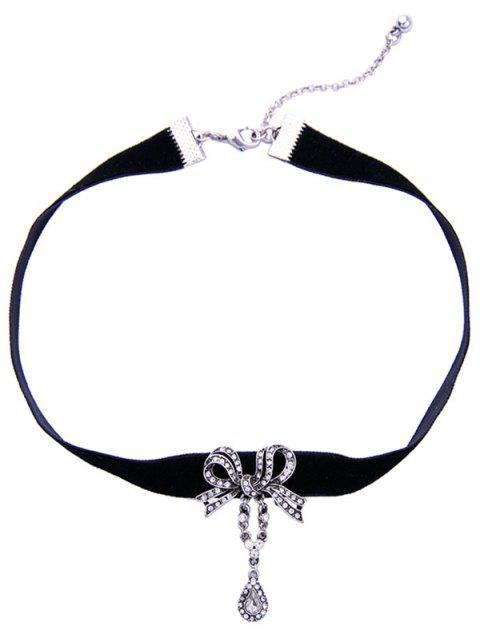 outfit Bowknot Teardrop Rhinestone Velvet Choker Necklace - BLACK  Mobile