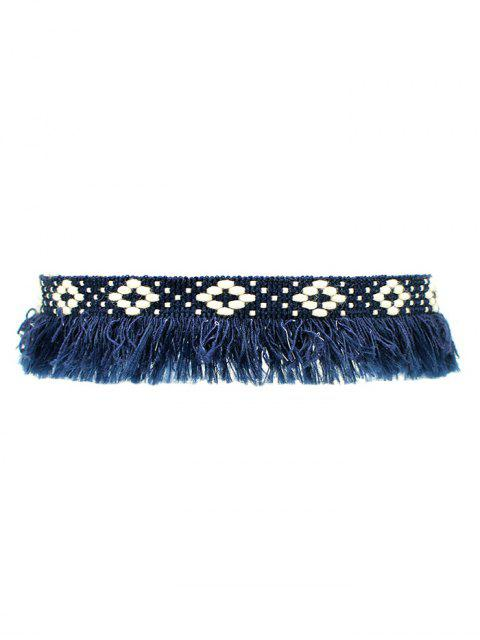 latest Fringed Woven Choker - BLUE  Mobile