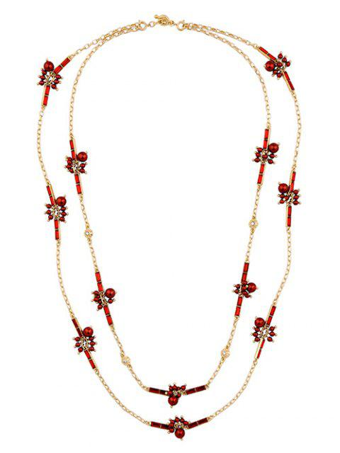womens Layered Rhinestone Sweater Chain - RED  Mobile