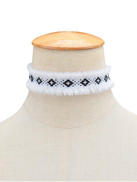 fancy Woven Fringed Choker Necklace - WHITE  Mobile