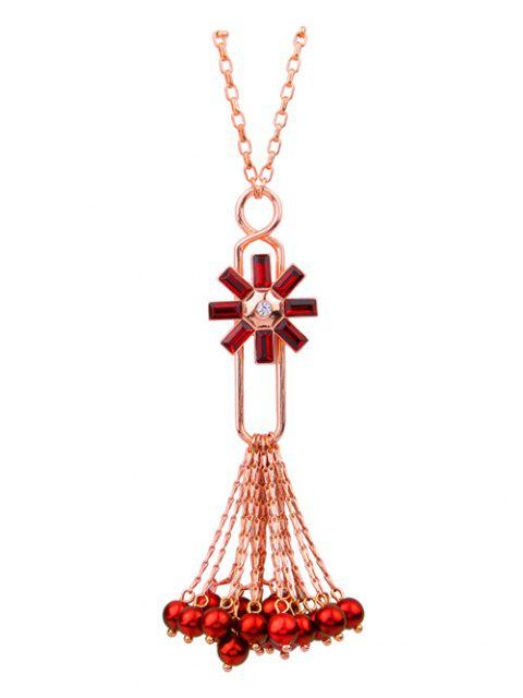women's Flower Fringed Beads Rhinestone Sweater Chain - RED  Mobile