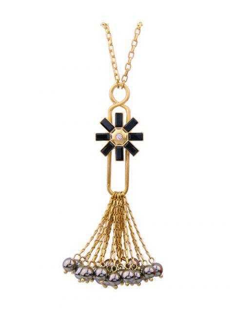 ladies Flower Fringed Beads Rhinestone Sweater Chain - BLACK  Mobile