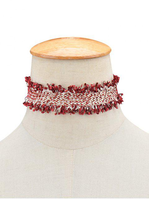 womens Knitted Fringed Choker -   Mobile