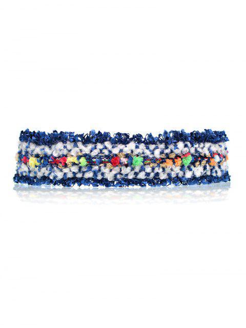 women's Fuzzy Knitted Fringed Choker - BLUE  Mobile