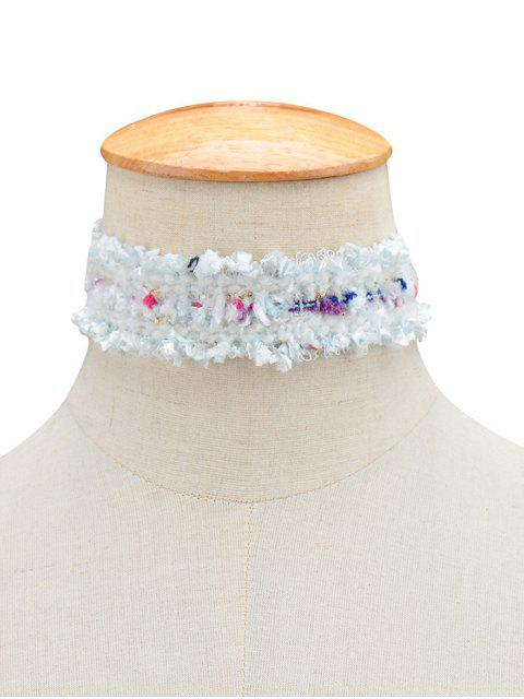 ladies Fuzzy Knitted Fringed Choker - WHITE  Mobile