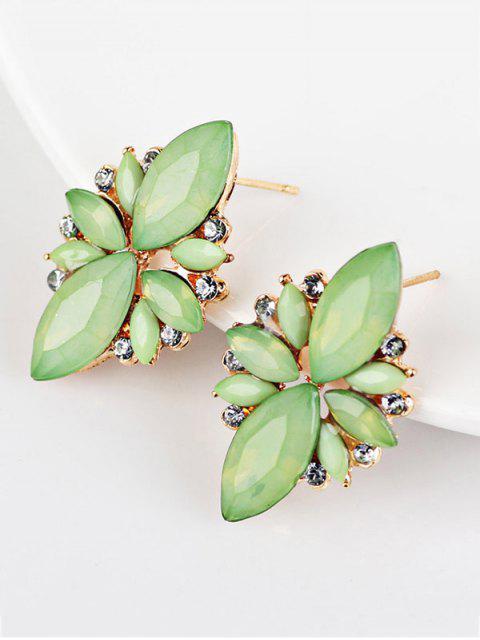 Boucles d'oreilles à couleur de bonbon avec embellissement de gemmes artificielles - Vert  Mobile