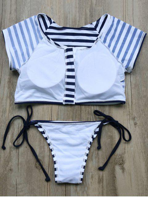 best Full Zip Cropped Striped Tankini Set - DEEP BLUE M Mobile