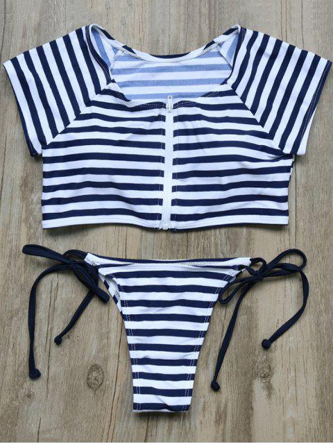 online Full Zip Cropped Striped Tankini Set - DEEP BLUE S Mobile