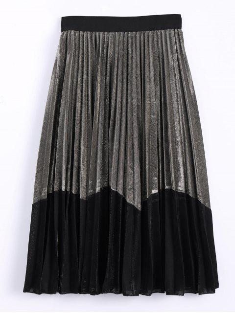 latest Color Block Velvet Pleated Skirt - GOLDEN ONE SIZE Mobile