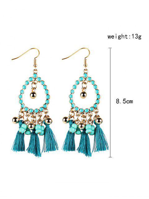 buy Geometrical Bohemian Tassel Drop Earrings - GREEN  Mobile