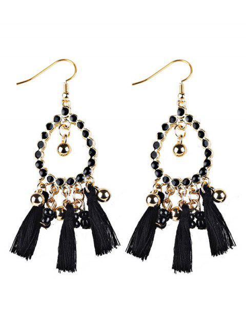 womens Geometrical Bohemian Tassel Drop Earrings - BLACK  Mobile