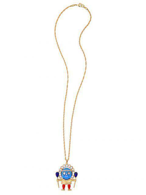 online Rhinestone Faux Pearl Pendant Sweater Chain - GOLDEN  Mobile