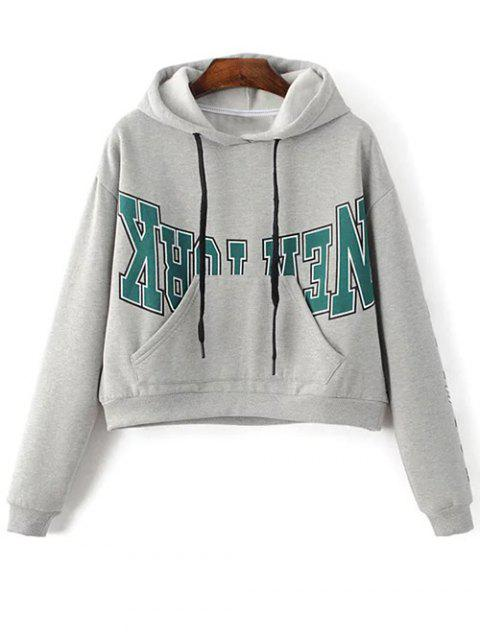 women Kangaroo Pocket New York Hoodie - GRAY M Mobile