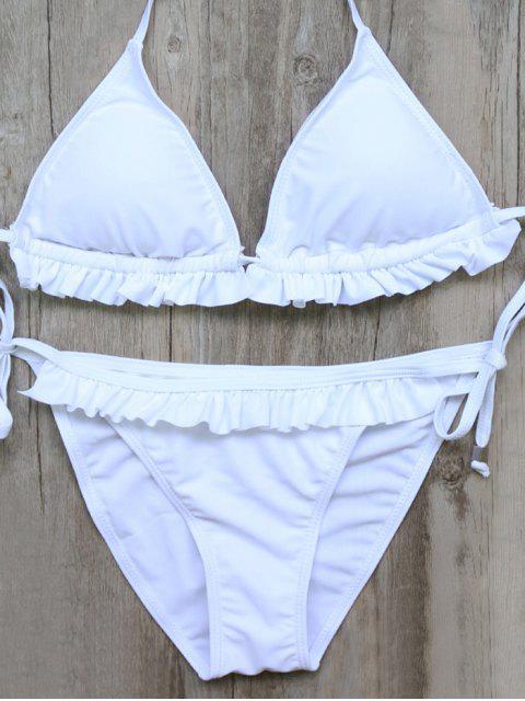 best String Double Side Ruffles Bikini Set - WHITE S Mobile
