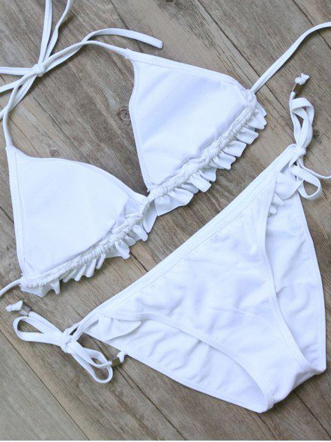 ladies String Double Side Ruffles Bikini Set - WHITE L Mobile