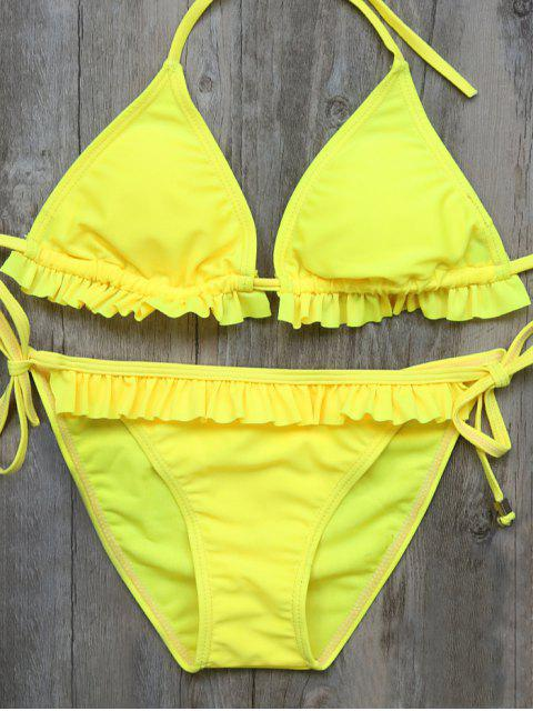 new String Double Side Ruffles Bikini Set - YELLOW M Mobile