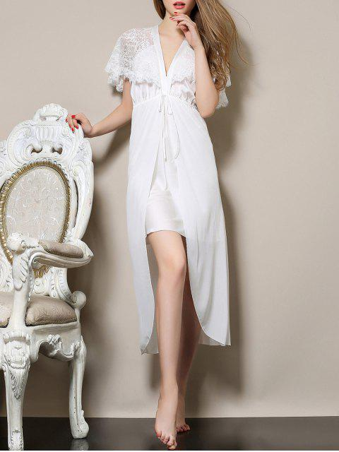 women Plunging Neck Satin and Lace Babydoll - WHITE L Mobile